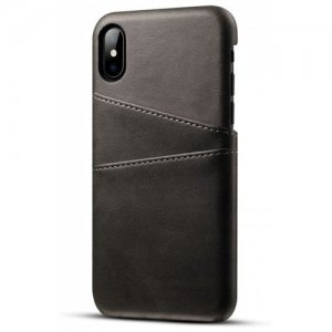 PU Leather Case for IPhone X Cover Protective Card Holder Wallet Mobile - BLACK