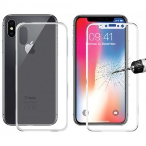 Hat - Prince Front + Back Full Screen Protector for iPhone X - SILVER