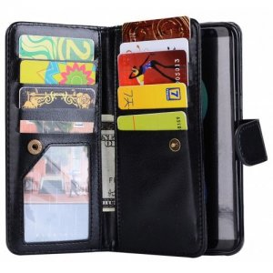 with Magnetic Detachable 9 Card PU Leather for Samsung S8 Wallet Cases - BLACK