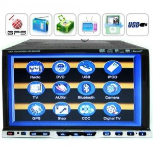 2 DIN 7 Inch LCD Car GPS Navigation Media Center Support Hands-free Function