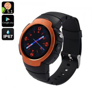 "Android Phone Watch ""Z9"" - Android 9.1, Google Play, IP67, GSM + 3G, 5MP Camera, GPS Support, Heart Rate Monitor (Orange)"