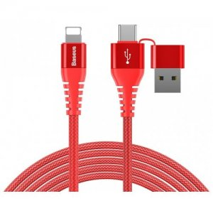 Baseus 3A Dual Output Charging Data Cable for iPhone - RED