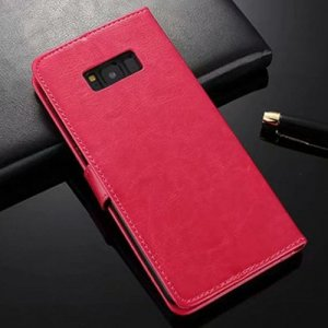 ASLING Mobile Phone Case with Stand Wallet Credit Card Slot for Samsung Galaxy S8 - ROSE RED