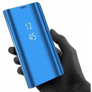 Plating Mirror Flip Phone Case View Smart Cover for Samsung Galaxy S8 Plus - DODGER BLUE