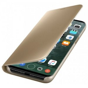 PU Leather Smart Clear View Flip Cover with Kickstand for iPhone 7 - 8 - GOLDEN