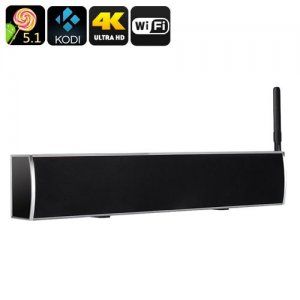 Android TV Box + Soundbar - Quad Core Android 9.1, 4K, DVB-T2 Functionality, Kodi V16 Pre-Installed, 50W Audio Output (Grey)