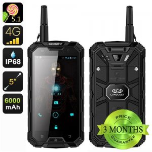 Conquest S8 Pro Rugged Smartphone - 5 Inch Screen, IP68, 4G, GPS, Compass, GPS, IR, Walkie Talkie, 13MP Camera (Black)
