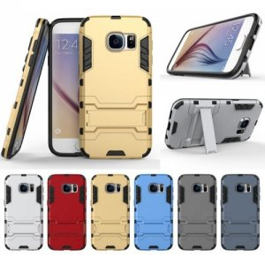 Armor All-inclusive Bracket Three In One Matte Drop-proof Protective Shell Mobile Phone Case for Samsung Galaxy S7 - CADETBLUE
