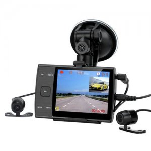 Dual Camera Car DVR - 480P, 3.5 Inch LCD Screen, 1/4 Inch CMOS Sensor, 140 Degree Lens, Motion Detection, Simultaneous Recording