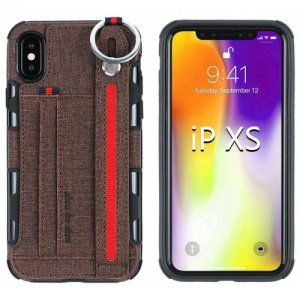 Stylish Phone Case with Waist Strap for iPhone XS - BROWN